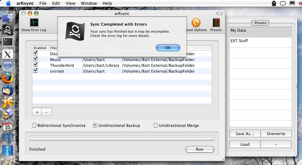 arRsync – an Rsync GUI for Mac OS X : Bart Busschots