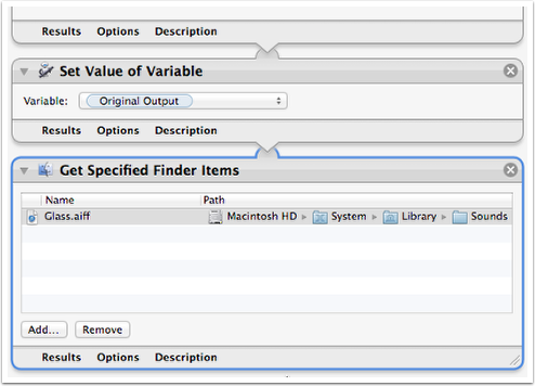 Add Get Specified Finder Items action and Add Audio File