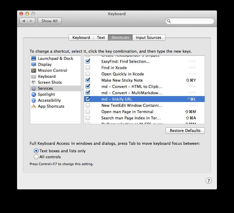 Setting Keyboard Shortcut
