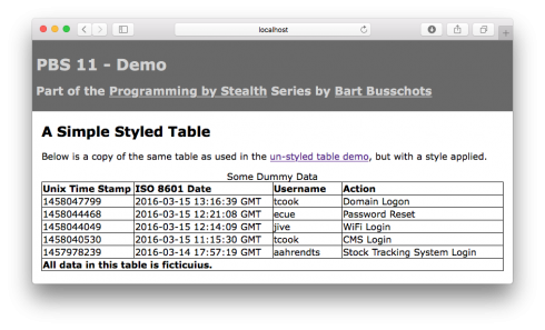 PBS 11 - Table with Specified Column widths