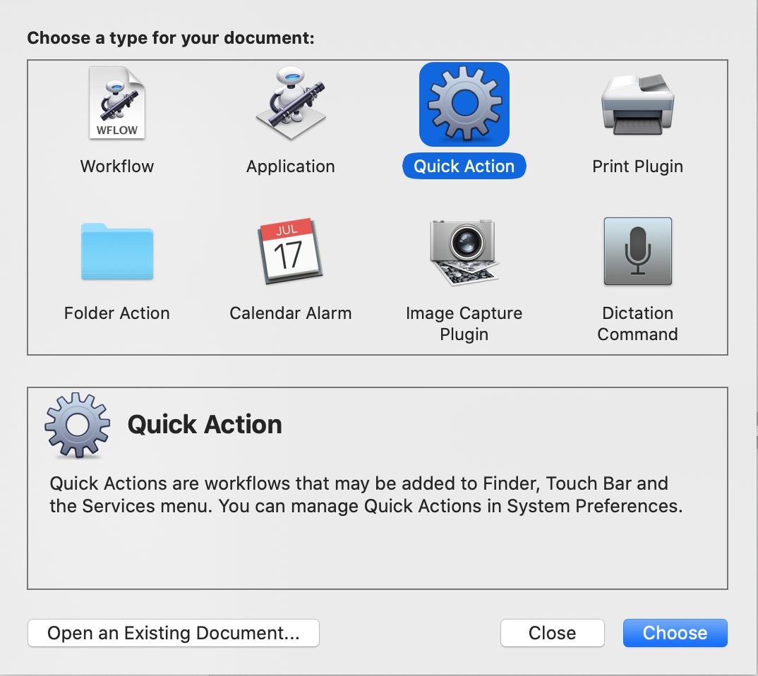 Screenshot showing Quick Action as new Document Type in Automator