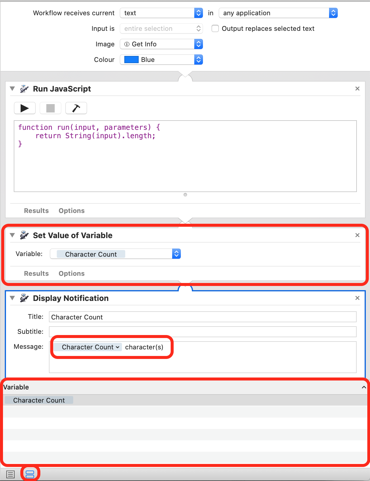 Screenshot showing a variable in use in an Automator workflow