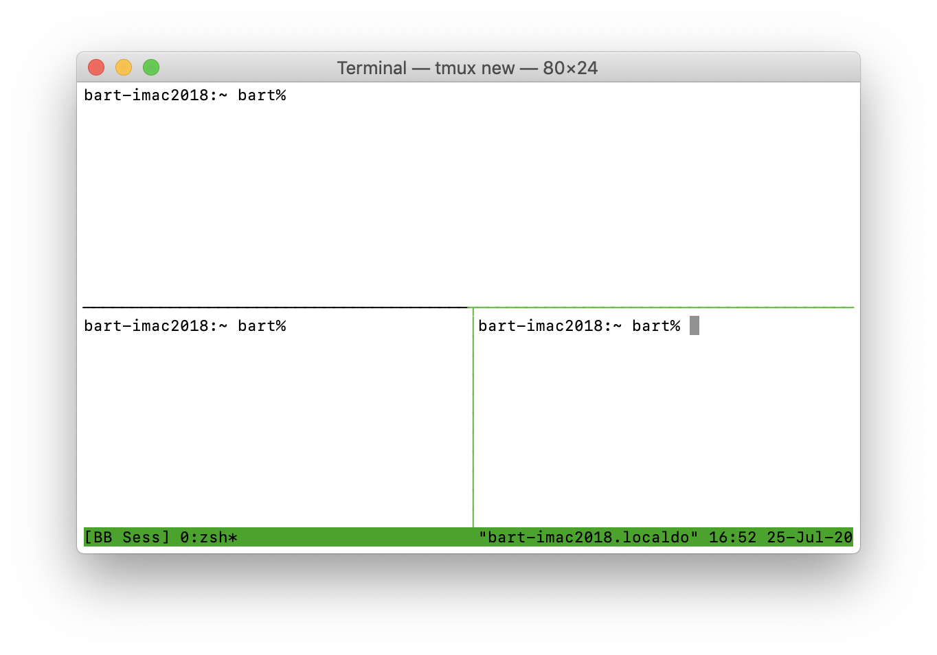 Screenshot showing 3-pane TMUX window